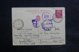 ITALIE - Entier Postal De San Piero à Ponti Pour La France En 1942 Avec Cachet De Censure, Taxé - L 36100 - 1900-44 Vittorio Emanuele III