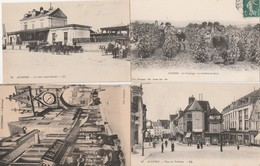 4 CPA:AUXERRE (89) VENDANGES CUEILLETTE RAISIN,ATTELAGES GARE SAINT GERVAIS,HORLOGE,PLACE DES FONTAINES..ÉCRITES - Auxerre