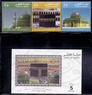 2007 QATAR Islamic Holy Places Complete Set 3 Values + 1 Souvenir Sheet MNH - Qatar