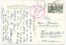 CARTE POSTALE 1960 POUR LA SARRE AVEC TIMBRE A 30 FR PALAIS DE L'ELYSEE - Marcophilie (Lettres)