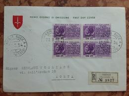 TRIESTE A 1954 - F.D.C. Raccomandata Spedita Ad Aosta Con Annullo Arrivo + Spese Postali - Poststempel