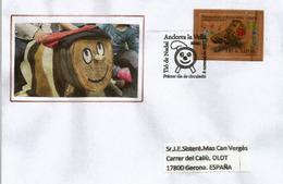 ANDORRA. Timbre En Bois.Tio De Nadal, (gateau Bûche De Noël) (Wood Paper Stamp) Lettre FDC Année 2017 - Spanish Andorra