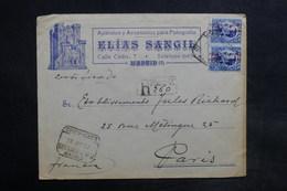 ESPAGNE - Enveloppe Commerciale De Madrid Pour Paris En 1932 , Affranchissement Plaisant - L 36113 - 1931-50 Briefe U. Dokumente