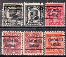 USA Precancel Vorausentwertung Preo, Locals Kansas, Concordia 225, 6 Diff., Perf. 5 X 11x11, 1 X 11x10 1/2 - Vereinigte Staaten