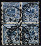 DR 1889,Michel# 48 D O Im Viererblock Gepr. BPP Jäschke-Lantelme - Oblitérés