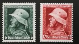 1935 Gedenktag ** Mi.Nr. 569-70x(senkr. Gummiriffelung) Mi.Pr. 90.--€ - Deutschland