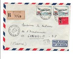 REUNION AFFRANCHISSEMENT COMPOSE SUR LETTRE RECOMMANDEE 1972 - Reunion Island (1852-1975)