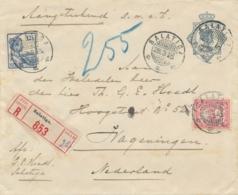 Nederlands Indië - 1916 - R-cover Van KB Salatiga Via Treinstempel KB SOERABAJA-BANDOENG B Naar Wageningen - Niederländisch-Indien