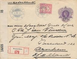 Nederlands Indië - 1919 - 17,5 Op 25 Cent Wilhelmina, Envelop G31 + 5 Cent - Censored R-cover LB KEPANDJEN Naar Arnhem - Niederländisch-Indien
