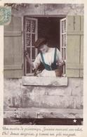 """CARTE FANTAISIE. COUPLE. SÉRIE COMPLÈTE DE 5 CARTES COULEUR  """" LE BOUQUET DE MUGUET """". ANNÉE 1906 - Couples"""