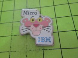 115c Pin's Pins / Beau Et Rare : THEME : INFORMATIQUE / PANTHERE ROSE MICRO IBM - Informatique