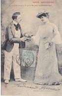 """CARTE FANTAISIE. COUPLE. SÉRIE COMPLÈTE DE 6 CARTES COLORISÉES.  """" DOUX SOUVENIRS """". ANNÉE 1905 - Couples"""