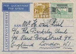 Nederlands Indië - 1935 - 42,5 Cent Opdruk Op LP-zegel + 2,5 Cent Op LP-briefje Van LBnr MODJOKERTO/3 Naar London / UK - Niederländisch-Indien