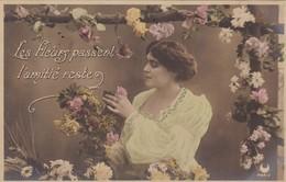 """37 TOURS (A DESTINATION DE ) CARTE FANTAISIE.  4  CARTES COLORISÉES.  """" FEMME ET FLEURS """". ANNÉE 1905 - Femmes"""