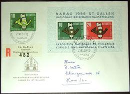 Schweiz Suisse 1959: NABAG Zu 344+WIII 38 Mi 669+Block 16 Yv 622+BF 16 R622 Mit EXPO-o ST.GALLEN 29.VIII.59 (CHF 12.00) - Lettres & Documents