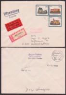 DDR GA-Umschlag U1 Als R-Eil-Auslandsbrief Dresden Unterschleißheim, Abb. Burg Ranis, Kriebstein, Portogenau - Sobres Privados - Usados