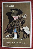 Fred SPURGIN Illustrateur KHAKI Makes A Man Of One Carte Anglaise Humour Enfant Militaire - Spurgin, Fred