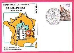 CYCLISME - CYCLING - VELO : TOUR De FRANCE 1979 *** Saint-Priest Ville étape ** Carte + Oblitération Illustrée 1979 - Cyclisme