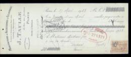 0-3211-LCD-13720 Eclairage J.taulle à Paris 1923 - Lettres De Change