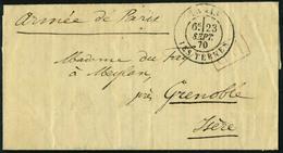 Lettre LA VILLE DE FLORENCE, Lettre Sans Timbre, Cachet P.P. Mention Armée De Paris, Càd Paris Les Ternes 23 Sept 70 Pou - Stamps