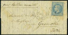Lettre LE CELESTE, L.M.M. Avec Càd De Paris R. Bonaparte 28 Sept 70 Pour Meylan Près Grenoble - Arrivée à Grenoble Le 3  - Stamps