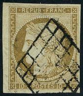 Oblitéré N° 1, 10c Bistre, Bdf, T.B. Signé JF Brun - Francobolli