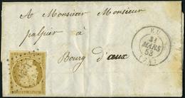 Lettre N° 1, 10c Bistre Obl PC Sur L + Cachet à Date EU 31 Mars 53, TB - Stamps