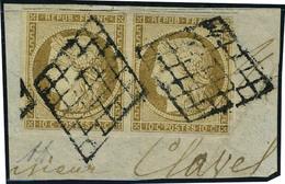 Fragment N° 1, 10c Bistre Paire Hor. Obl. Grille Sur Fragment, T.B. Signé Diéna - Francobolli