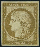 Neuf Sans Gomme N° 1, 10c Bistre T.B. Signé Brun - Francobolli