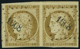 Oblitéré N° 1a, 10c Bistre Brun, Paire Horizontale, Superbe, Signé Calves - Stamps