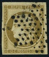 Oblitéré N° 1a, 10c Bistre Brun Obl étoile, T.B. Signé Calves - Francobolli