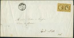 Lettre N° 1a, 10c Bistre Brun Paire Hor. Sur Lettre De St Omer Pour Lille 9 Dec 52 TB - Stamps