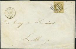 Lettre N° 1b, 10c Bistre Verdatre Obl Grille Sur L De Nexon 30 Oct 51, Pour Lille TB - Stamps