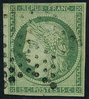 Oblitéré N° 2, 15c Vert T.B. Signé Brun, Infime Encoche Dans La Marge - Stamps
