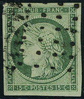 Oblitéré N° 2b, 15c Vert Foncé Obl Gros Points, Grandes Marges, Superbe, Signé Brun - Non Classés