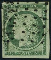 Oblitéré N° 2b, 15c Vert Foncé Obl Gros Points, Grandes Marges, Superbe, Signé Brun - Francobolli
