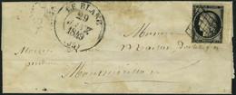 Lettre N° 3, 20c Noir Bdf, Obl Grille Sur L + Cad Type 13 29 Janv. 1849, T.B. - Stamps
