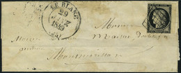 Lettre N° 3, 20c Noir Bdf, Obl Grille Sur L + Cad Type 13 29 Janv. 1849, T.B. - Francobolli