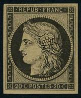 Neuf Avec Charnière N° 3F, 20c Noir Réimpression T.B. - Francobolli