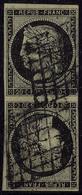 Oblitéré N° 3d, 20c Noir Sur Jaune, Paire Verticale Tête Bêche, Obl. Grille, T.B. Signé A Brun Et Calves + Certificat. R - Francobolli