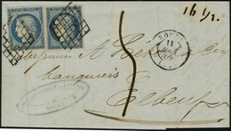 Lettre N° 4, 25c Bleu Cérès X 2ex Sur L De Rouen 11 Août 50 Pour Elbeuf, Taxe Manuscrite Pour Affranchissement Insuffisa - Francobolli