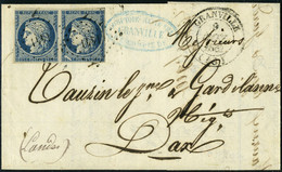 Lettre N° 4, 25c Bleu, Paire Hor. S/L, 1 Ex. Variété Important Trait Blanc Sur La Valeur 25c, TB - Stamps