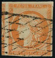 Oblitéré N° 5, 40c Orange Obl Grille Sans Fin T.B. Superbe, Signé Brun - Stamps