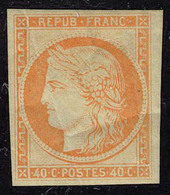 Neuf Avec Charnière N° 5g, 40c   Orange Type Cérès, Réimpression T.B. - Francobolli