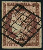 Oblitéré N° 6, 1f Carmin Obl Grille T.B. Signé Diéna - Francobolli