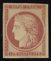Neuf Avec Charnière N° 6f, 1f Carmin Foncé, Réimpression, T.B. - Stamps