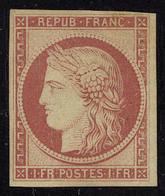 Neuf Avec Charnière N° 6f, 1f Carmin Foncé, Réimpression, T.B. - Francobolli