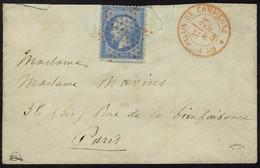 Lettre N° 22, 20c Bleu Sur L. Obl. étoile Rouge + Palais De Compiègne 28 Nov 66, Très Belle Frappe, Signé + Certificat J - Stamps