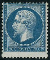 Gomme Non Originale N° 22, 20c Bleu Variété De Piquage, T.B. - Stamps