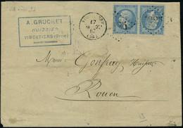 Lettre N° 22b, 20c + 20c, Paire Tête Bêche Sur L. Obl. GC 4285 Vimoutiers Pour Rouen, Excellent Centrage, Superbe, Signé - Stamps